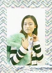 Gleam (Frances Sousa) Tags: holographic fashion editorial photography pastel model stripes mint green faux fur style