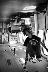 Equilibrium (eCHstigma) Tags: california street people blackandwhite man motion monochrome subway oakland dance fuji action candid bart bayarea fujifilm sfbayarea performer bnw xseries xpro1