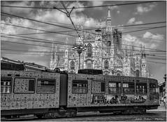 Un tramvia molt peculiar amb un cel ple de cablejat (Antoni Gallart i Vilarrasa) Tags: milan italia catedral cel bn cables duomo mil d800 tranvia peculiar tramvia itlia inslito cablejats