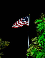 Stars And Stripes Forever (http://fineartamerica.com/profiles/robert-bales.ht) Tags: blue sunset red sky usa cloud sunlight white vertical night america stars freedom flying democracy state symbol wind stripes flag united country americanflag pride pole national american independence patriotism waving celebrate fluttering vibrantcolor unitesstates robertbales