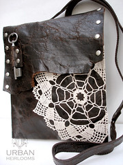 Leather and Lace Boho Messenger Bag (UrbanHeirlooms) Tags: brown leather fashion vintage bag keys needlework handmade oneofakind ooak crochet spiderweb hippy style southern socal purse mocha hippie espresso accessories prairie etsy textiles californiagirls satchel gypsy handbag messengerbag dreamcatcher stevienicks reclaimed leatherwork southerngothic restorationhardware upcycled leathercraft oldkeys crossbody gypsiestrampsandthieves southerngirls leathergoods distressedleather antiquekeys antiquehardware urbanheirlooms countrygirls brasshardware vintagekeys prairiechic grannychic