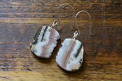 Amethyst Slice and Sterling Earrings (peonyandbee) Tags: christmas holiday forest woodland natural handmade ornaments recycle whimsical upcycle peonyandbee kateeggleston