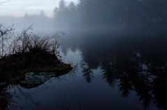 Freese's Pond (rossbysmom) Tags: sunset color reflection fog digital twilight pond moody newhampshire deerfieldnh nikon18200mm lheurebleue nikond7000 freesespond