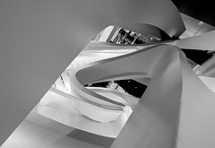 Staircase in Giorgio Armani Store on 5th Avenue, NYC (nianci pan) Tags: nyc urban bw abstract geometric fashion architecture stair pattern geometry manhattan sony 5thavenue line staircase pan curve  giorgio armani   sonyalphadslr nianci sonyphotographing