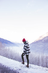 winter wonderland (jxssicabert) Tags: trees winter red italy snow mountains alps love me nature girl weather season landscape happy photography snowy walk happiness hike valley snowing wonderland