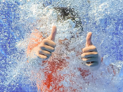 Thumbs up! (kevin.gale) Tags: blue bubbles colour goggles pool swim swimming thumb thumbsup underwater water