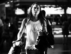 (graveur8x) Tags: woman candid street portrait frankfurt germany deutschland blackandwhite frau strase streetphotography contrast schwarzweis sun summer dof city people trainstation light olympus olympusem10markii microfourthirds m43 travel olympusm75mmf18 75mm zuiko look bag