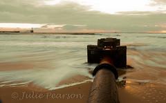the pipe (jules 500) Tags: blythbeach dawn sunrise northumberland coast sea waves sand pipe canon october 2016 blyth beach