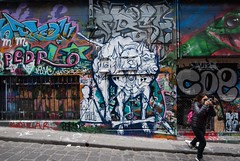 pm 71016-0065 (roger hyland) Tags: melbournestreetart melbournegraffiti melbourne hosierandrutledgelanes cezarystulgis cruel snapped