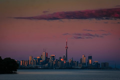 Sunset Over Toronto (SarahJKelleher) Tags: sunset orange pink colours colors colourful colorful sun sky clouds urban city etobicoke toronto ontario canada light nikon nikond7200 nikon35mm 35mm lightroom cntower skyline cityskyline torontoskyline lakeontario lake