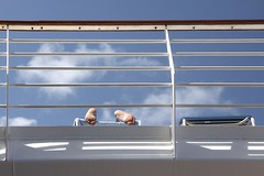Sun-day of De-feet (Explore) (G-daddyArt) Tags: sky cloud rail deck lounge deckchair feet cruise boat blue