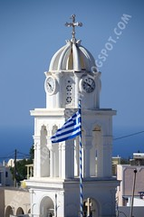 Torre de iglesia en Megalochori, Santorini (Travel around Spain) Tags: santorini grecia megalochori iglesia bandera campanario mar mediterraneo