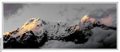 Sunset on the Annapurna South from Australian Base Camp (L'Abominable Homme de Rires) Tags: nepal atalante tamron 2470mmf28 canon 5dmkiii landscape trek himalaya annapurna noiretblanc nb blackwhite