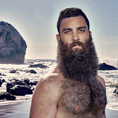 1277 (rrttrrtt555) Tags: hair hairy chest shoulders arms armpit beard surf ocean water rocks shore beach masculine eyes stare freckles muscles outdoors play waves