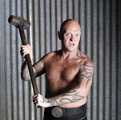 the mad sledgehammer (areavie@gmail.com) Tags: sledge hammer 2016 canon 7d mark 2 mk ii studio shirtless tattoo kilt 50mm f14 sledgehammer cannon dslr slr hairy chest bald