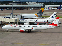 OE-LWI Embraer 195 of Austrian Airlines (SteveDHall) Tags: aircraft airport aviation airfield aerodrome aeroplane airplane airliner airliners manchester manchesterairport ringway 2016 oelwi embraer195 austrianairlines embraer e195 austrian aua os