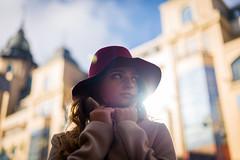 Kristina (Ash and Debris) Tags: hat girl scarf beauty sunlight coat sun city overcoat hands look portratit light