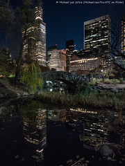 Central Park Pond (DSC05667 (Michael.Lee.Pics.NYC) Tags: newyork centralpark pond gapstowbridge night reflection cityscape fifthavenue centralparksouth 2016 architecture sony a7rm2 zeissloxia21mmf28