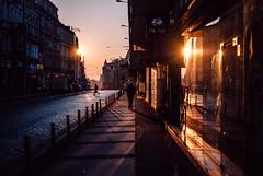 lullaby (ewitsoe) Tags: poznan poland ewitsoe marcin street city silhouette man walking sidewalk sunrise dawn autumn winter buildings architecture