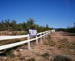 Long Road | Signs (caseyharrison) Tags: plaubel makina 670 nikkor fuji mediumformat rangefinder 6x7 sedona red rock 120 film presidential election sign trump arizona