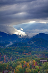Piercing the Clouds (ryanjohns821) Tags: tennessee great smoky mountains pigeon forge fog rays autumn fall sky sunset nature tree green light landscape trees