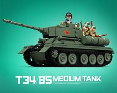 T-34/85_A (bijanz) Tags: army tank lego russia military ww2 russian worldwar t34 t3485 su85 su100 legotank