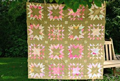Scrappy Star Quilt (balu51) Tags: by stars star stash quilt sewing wip quilting scraps patchwork scrappy starquilt quilttop stashsewing balu51 quiltpinkpeachbrownolivequilt topseptember2015copyright