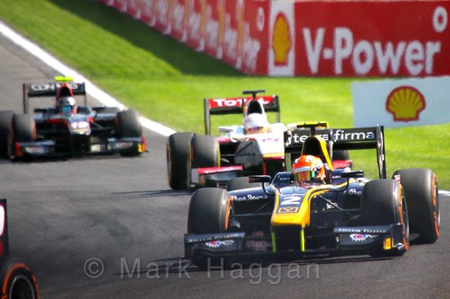 Alex Lynn in the GP2 Feature Race at the 2015 Belgium Grand Prix