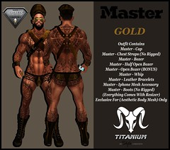 MASTER - OUTFIT GOLD (Lito Titanium) Tags: new man male men up leather set outfit boots top chest smith master enzo strap whip boxer roll bracelets hombre homme accesories cuero aesthetic cuir niramyth
