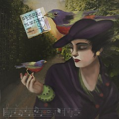 Soundless Birds** (Deborah McMillion) Tags: music bird contemporaryart surrealism digitalart sketchbook dreams stories mu messages formulas fingerpainting iart ipad ipainting mobiledigitalart retrosurrealism beesparkt:week=54
