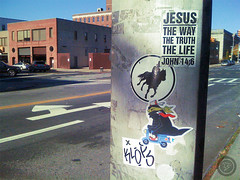 LIC, NY (t-ninja) Tags: street nyc horse ny newyork t sticker stickerart ninja tag jesus stickers scooter pole lic slap tee longislandcity nuevayork slaps nja slaptag ninjah john146 klops slaptagging ninjamask tnj tninja tnja tnzilla teeninja tninjah t忍者