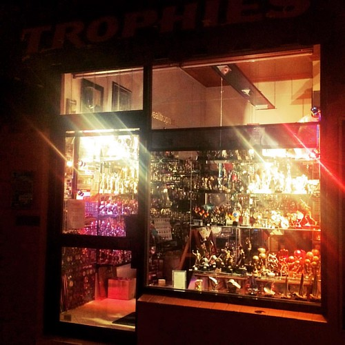 309/365 • trophy shop at night • #309_2015 #trophies #shiny #nighttime #Spring2015 #outandabout #solo
