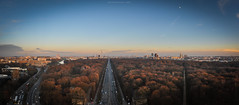 Berlin - Panorama from the Siegessule (mystrg) Tags: road street city trees sunset sky panorama berlin cars horizontal germany evening europe capital victory vehicles column viewpoint tiergarten siegessule