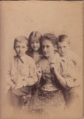 Henry, Juliet, cousin Rhoda, and Arthur (July 1896) (pellethepoet) Tags: photograph groupportrait cabinetcard cousins siblings brothers sister children boys girls rhodaskeneheathcote henrymasonboucher arthurelliottboucher maryedithvictoriaboucher somerset england unitedkingdom rhodaskeneevers julietedithvaleryboucher named