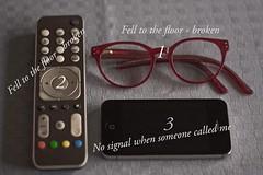 Three times in a week - not funny (atranswe) Tags: dsc2699 sweden sverige vsternorrland ngermanland vja latn625818lone17427 glasgon glasses fjrrkontroll remotecontrol mobiltelefon cellphone mobilephone atranswe