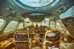 The Langoliers (Szydlak Szk) Tags: abandoned derelict old forgotten urbex urban exploration airplane aeroplane aircraft rusty rust langoliers cockpit stephenking decay decayed decaying machine transportation aviation graveyard szydlak chairs ceiling inside interior window windows samolot flugzeug