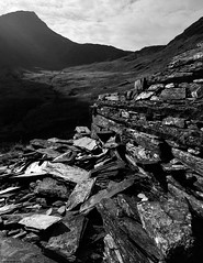 Cwm Llan Quarry with Allt Maenderyn B&W ** (CactusD) Tags: snowdon snowdonia mountains wales autumn apple iphone 6plus iphoneography watkinpath blackandwhite monochrome bw cwmllan quarry slate alltmaenderyn cwm llan allt maenderyn watkin path uk 6 plus landscape yrwyddfa yr wyddfa nationalpark national park gwynedd unitedkingdom gb mtsub