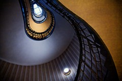 Stairwell at the Grand Cafe Orient (khrawlings) Tags: yellow stairwell staircase rail light skylight spiral indoors prague praha czech city urban grandcafeorient coffee shop cafe