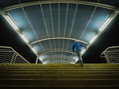 Catching the last train (uneitzel) Tags: architecture architektur bahnhof bewegungsunschrfe gelnder hamburg lines linien mzuiko918mm modern motionblur nacht night olympusem5 person railing stairs station treppe sbahn poppenbttel