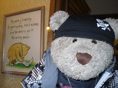 My spellin' is wobbly too! (pefkosmad) Tags: tedricstudmuffin ted teddy bear dorset piddletrenthide england uk tourist holiday vacation vacances trip holibobs tourism travel cute toy stuffed soft plush fluffy teddybearmuseum dorchester pooh museum display winniethepooh