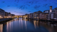 Over The Vecchio... (JH Images.co.uk) Tags: hdr dri morning bluehour water reflection florence firenze bridge ponte vecchio art architecture night clouds italy river tower buildings