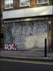 Rx / Gee (Alex Ellison) Tags: rx arxs yrp yks gee throwup throwie eastlondon urban graffiti graff boobs shop store shutter