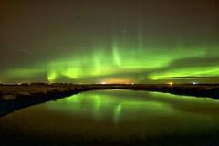 October 23 Sunday aurora (John Andersen (JPAndersen images)) Tags: alberta aurora bergthal night pond prairie reflections