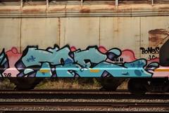 TRE (TheGraffitiHunters) Tags: graffiti graff spray paint street art colorful freight train tracks benching benched tre hopper