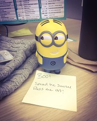 Lol. Came back from lunch to this on my desk. Time to pass on the smiles :)