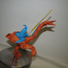 IOIO 2016 - Own Design - Joust video game - Knight riding Ostrich 2 (Tankoda) Tags: video game ostrich knight tissue foil origami no support one foot own design joust ioio 2016 lance