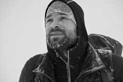 untitled (pass_the_popcorn) Tags: popcornphotography headshot man mountaineering blackandwhite winter snowstorm alps eyes face wintersport cold portait beard white snow