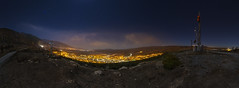 SCIENCE VS RELIGION (Der_Golem_) Tags: panoramica 2016 ojodepez padul nubes linterna cielo granada ciudad nocturna largaexposicion cruz contaminacionluminica pano valle luna