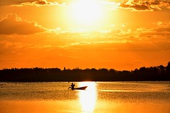 The Golden Hour (Tungmay aka ) Tags: sunset lake sun water boat thailand silhouette ngc wow brilliant
