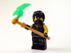 Ninja of Earth (Drazard .) Tags: ninjago doyouknowhowtopostthingsthatarentminifigs lego ninja earthninja coletheninja scythe whitebackground oooohhh blackandwhitebutnot whatevenarethesetags kabi kbai